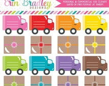 60% OFF SALE Delivery Trucks and Packages Clipart Holiday Clip Art Graphics Gifts Shopping Shipping for Christmas Personal & Commercial Use