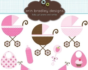 60% OFF SALE Baby Girl Clipart Clip Art Personal and Commercial Use with Strollers