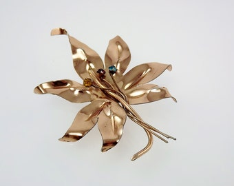 Vermeil Leaf Pin, Sterling Silver Brooch, Large Statement Jewelry, Maple Leaf, 1950's Jewelry, Costume Jewelry