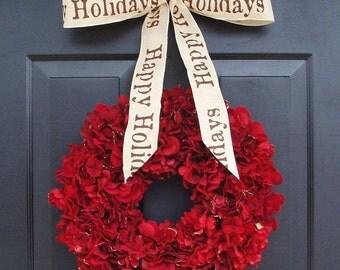 FALL WREATH SALE Holiday Wreath, Christmas Wreath, Hydrangea Wreath, Christmas Gift, Winter Wreath, Happy Holidays Red Wreath, Door Wreath