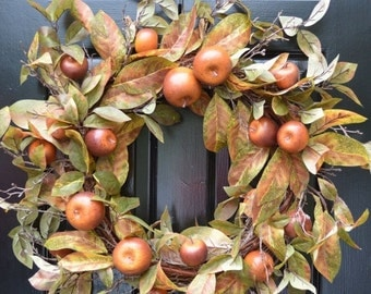FALL WREATH SALE Fall Wreath- Fall Decor- Carmel Apple Fall Door Wreath Front Door Autumn Wreath- Wreath for Door Wall Art- Year Round Wreat