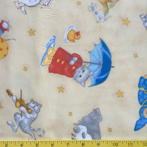Children 39 s fabric nursery rymes 100 cotton designed by for Nursery cotton fabric