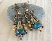 Brass Chandelier Earrings, Deep Blue, Tribal, Boho Earrings, Handmade