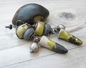 Tribal Earrings, Olive and Blue, Eclectic Boho Dangle Earrings, Handmade, One of a Kind