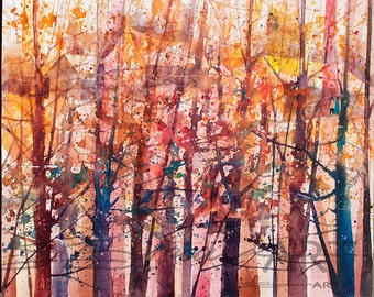 Lost in Autumn Watercolor Painting, Watercolor Art, Contemporary Art, Birch Tree Art,Cabin Decor, Home Decor Art, Living Room Art, Wall Art