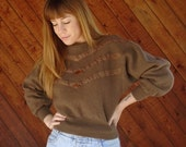 extra 25% off SALE ... Brown Wool Suede Snakeskin Patch Sweater Pullover - Vintage 80s - SMALL S