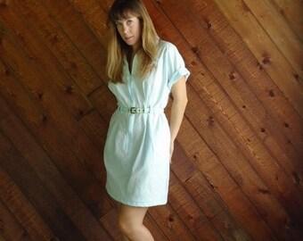 extra 25% off SALE ... Seafoam Green Mini Shirt Dress - Vintage 80s - SMALL