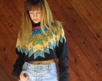 extra 25% off SALE ... 70s Crop Quilted Patchwork Pullover Sweatshirt - Vintage 80s - M/L