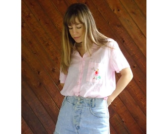 Pink Gauze Embroidered Floral s/s Blouse - Vintage 80s - L