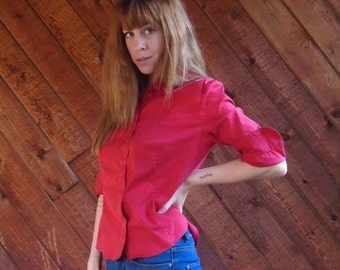 30% off ... Red Button Down PRADA Designer Blouse Shirt - Vintage 90s - SMALL S