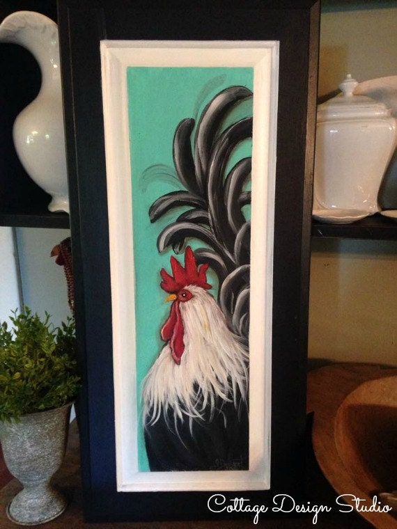Rooster Farmhouse Painting Rooster Decor Farmhouse Decor