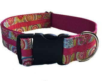 """1.5"""" Pink Modern Wide Dog Collar Buckle or Martingale"""