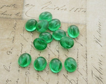 Glass Cabochon Vintage Cabochon Light Emerald with White Swirl 12x10mm Cabochon (4)