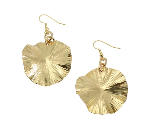 Gold Leaf Drop Earrings - Gold Drop Earrings - Gold Toned Jewelry for Women - Unique Gifts for Her