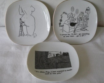 Set of 3 Mid-Century RISQUE Nude Naughty COMIC Plates Comic Strip Style Illustrated on Small White Plates/Platters 2 w/Humorous Captions