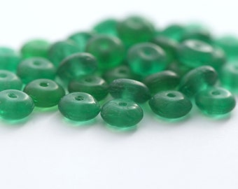 Vintage Green German Glass Spacer Disc Beads 6mm (30)