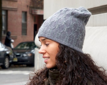 Slouchy Hat- Knit Cable Beanie- Cashmere Wool Hat- Gray Beanie- Winter Hat- Warm Hat- Fall Hat- Women's Hat- Fall Accessories
