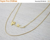 Sale 20% OFF Bird and Dandelion Necklace in Gold- Small, holiday gift for her, woodland jewelry
