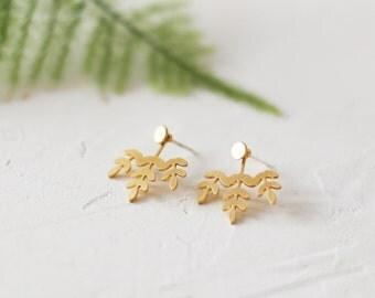 Geo Ear Jackets, Botanic Jewelry, Botanical, Botanic earrings, Leaves Jewelry, Leaf Jewelry, Leaf Earrings, Woddland, Earjackets