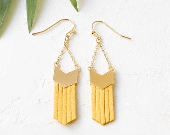 Fringe Earrings, Suede Earrings, colorful Suede Jewelry, Tribal Inspired Earrings, Chevron Dangle & Drop Earrings, Golden Earrings