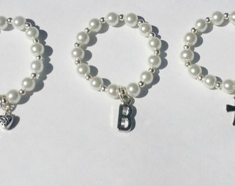 Baby Pearl Bracelet With Your Choice of Charm, Baptism, Christening