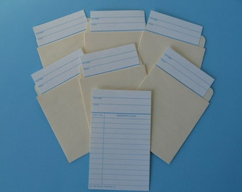 Lot Of 10 Library Check-Out Cards With Pockets