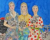 Provence Flower Market Friends Original Painting Illustration Art Watercolors