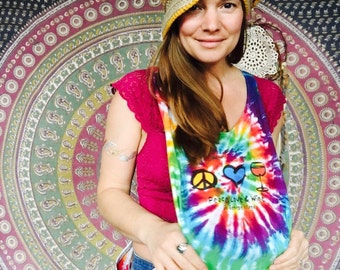 Peace Love and Wine Tie Dye Layering Racer Back Tank One Size Beach Cover Up Festival One Size