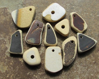 SALE Ceramic Beach Glass POTTERY Pendants Beads Earthenware Beach Glass Pendant CHARMS