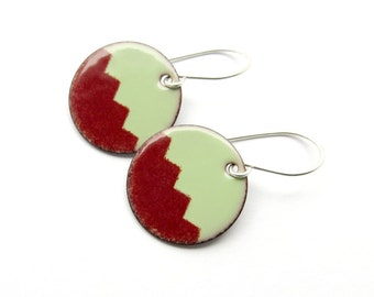Modern Earrings - Dark Red and Green Enamel Earrings - Modern Jewelry