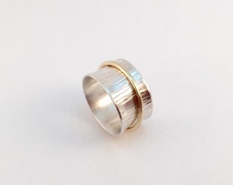 Wide Sterling Silver Spinner Ring with 14k Band