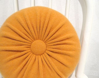 Tangerine Orange Pillow Cashmere Pillow Round Pillow Couch Cushion Wool Pillow Sofa Pillow Accent Pillows Round Orange Pillow 939
