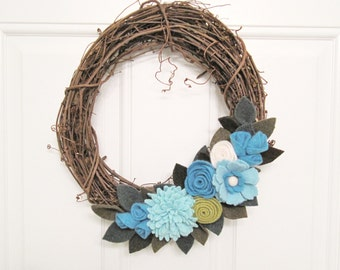 "Aqua Felt Flower Wreath Spring Decoration 12"" Grapevine Wreath Wall Hanging Handcrafted from Felted Wool and Cashmere Sweaters no952"