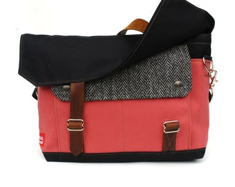 Waxed Canvas Messenger Bag / Recycled Herringbone Wool, Pink Canvas & Oiled Leather Closure