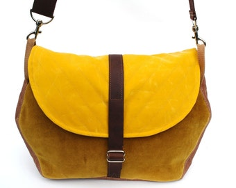 Waxed Canvas Messenger Bag / Hexagon Messenger in Yellow Waxed Canvas and Recycled Moss Velvet Tapestry