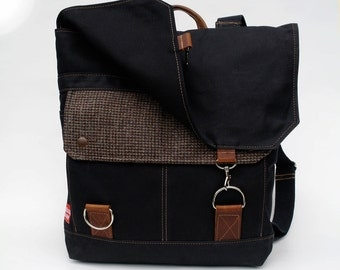 Waxed Canvas Backpack / Recycled Tweed, Black Waxed Canvas & Oiled Leather