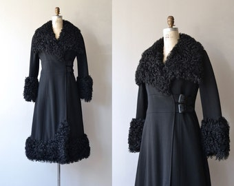 Ex Libris coat | vintage 1930s coat | lamb fur collar 30s coat | 30s wool wrap coat