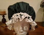 Fancy Shower Cap,  Giant Size Very Dark Green With Beage Cotton Lace Trim Fits EX Lg. Lg, Med. Free Shipping