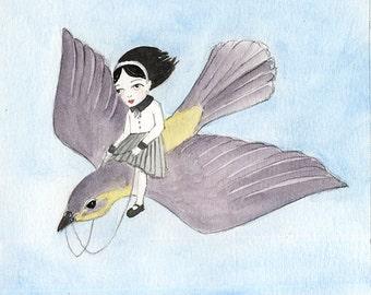 Mini Girl Riding a Bird, Alice in Wonderland - Watercolor illustration 5x5