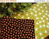ON SALE Table Runner Halloween Ghosts Pumpkins Padded Reversible Candy Corn on Black