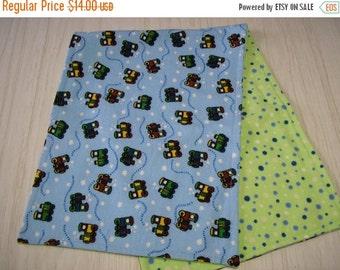 ON SALE Burp Cloth Gift Set of 3 Flannel Choo Choo Trains on Blue Larger Size