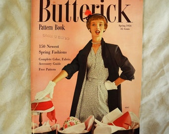 Vintage Butterick pattern magazine, spring 1954, 1950s, fabric, accessories guide, collar pattern