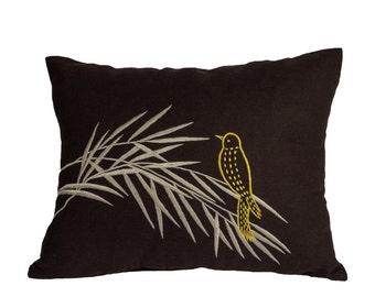Bird on Bamboo Lumbar Pillow Cover, Decorative Pillow Cover, Bird Pillow Case, Dark Brown Linen Bird Embroidery, Accent Pillow, Modern