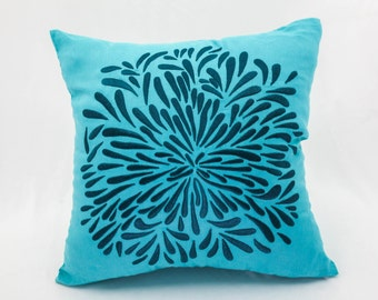 Floral Decorative Pillow Cover, Deep Blue Chrysant Teal Linen, Flower Cushion, Modern Pillow, Teal Flower Pillow Case, Embroidered Pillow
