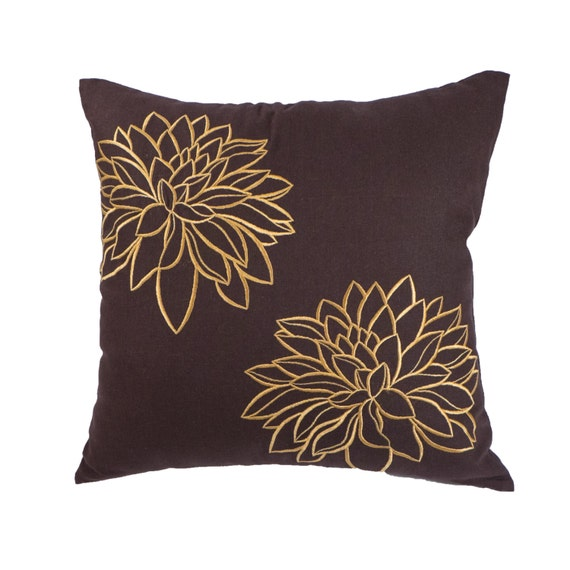 Gold Brown Throw Pillows : Flower Throw Pillow Cover Brown Gold Couch Pillow Dark