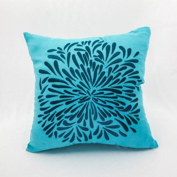 Deep Blue Throw Pillows : Floral Decorative Pillow Cover Deep Blue Chrysant Teal Linen