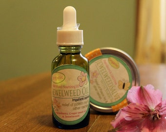 Jewelweed Herbal Oil, Herbal Infused Oil, Massage Oil, Healing Oil, Organic Skin Care, Botanical Oil. poison ivy relief