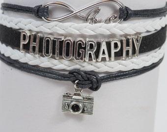 Black and White Photography photographer Camera Handmade Infinity style Bracelet