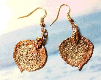 Real Leaves Jewelry, Colorado Aspen Leaf Earrings,Rose Gold patina, cute leaf earrings