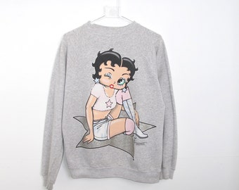 90s BETTY BOOP Heather Grey Crewneck Sweatshirt Walk of Fame